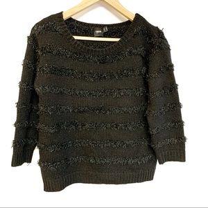 asos black metallic fuzzy boxy sweater sz 2